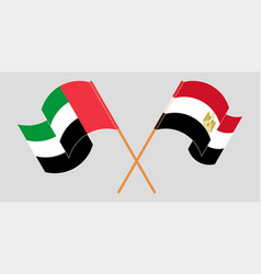 Crossed and waving flags egypt and united vector