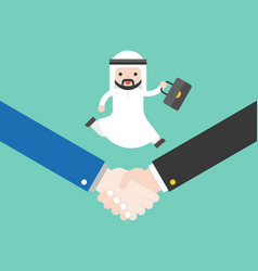 cute arab business man holding briefcase running vector image