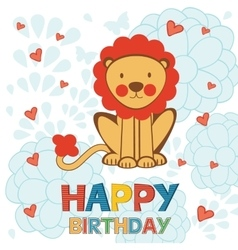 Cute Happy Birthday card with funny lion vector