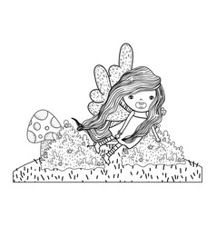 Cute little fairy with butterfly wings character vector