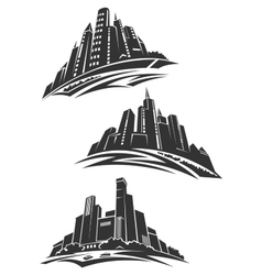 Downtown modern city gray silhouettes vector