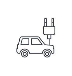 electric car plug cable ecology thin line icon vector image