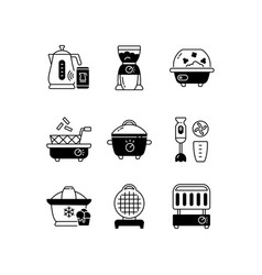 electric cooking devices black linear icons set vector image