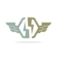 electricity logo power wings icon design symbol vector image