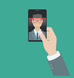 facial recognition concept face id face vector image