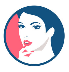 fashion girl round avatar beautiful face vector image