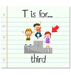 Flashcard letter T is for third vector