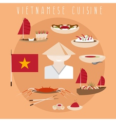 flat design template of vietnamese cuisine vector image