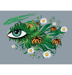 Floral summer eye vector image