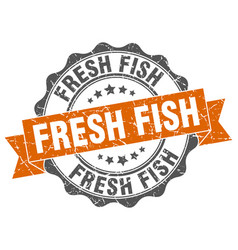 Fresh fish stamp sign seal vector