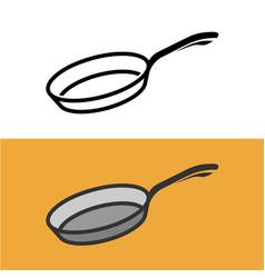 Frying pan logo cooking iron pan sign vector