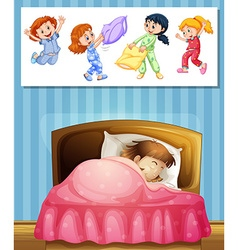 Girl sleeping in bed vector image