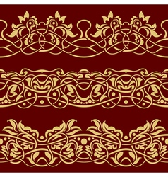 gold floral seamless border design element vector image