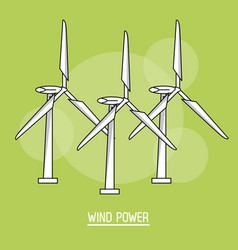 Green color background with bubbles of wind power vector