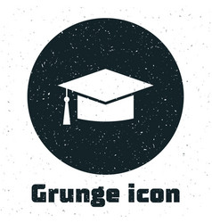 Grunge graduation cap icon isolated on white vector