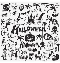Halloween monsters doodles vector image