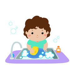 happy boy washing dish on white background vector image