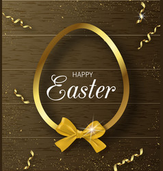 happy easter background with golden frame and bow vector image