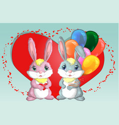 happy valentines day love card a pair of cute vector image