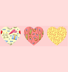 Hearts with patterns for valentines day vector