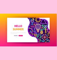 Hello summer neon landing page vector