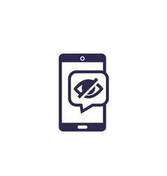 Hidden icon on mobile screen vector