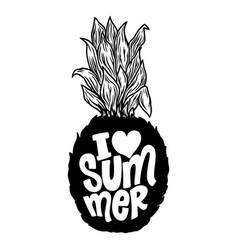i love summer lettering phrase on pineapple vector image