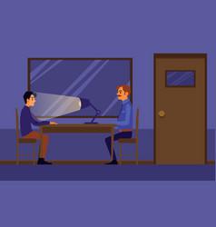 Interrogation in police station flat vector