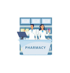 isolated pharmacy counter with cartoon people in vector image