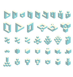 isometric cubes set vector image