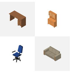 Isometric design set of cupboard table office vector