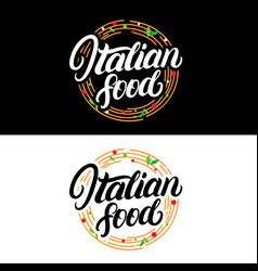 italian food hand written lettering logo label vector image
