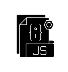 Js file black glyph icon vector
