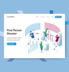 landing page template first person shooter vector image