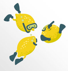 Lemon divers cartoon concept vector