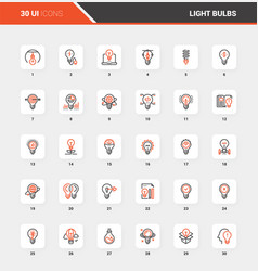 light bulbs flat line web icon concepts vector image