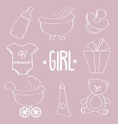Linear baby girl items set vector