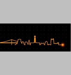 Lisbon light streak skyline vector