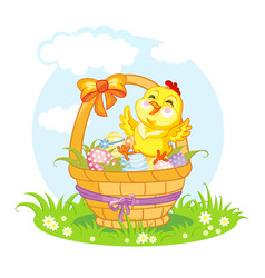 Little cute funny character chicken on basket vector