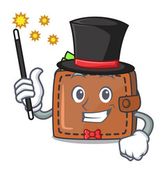 Magician wallet mascot cartoon style vector