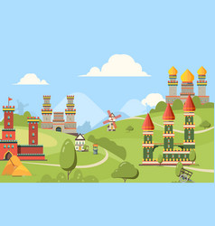 medieval buildings horizontal background of vector image