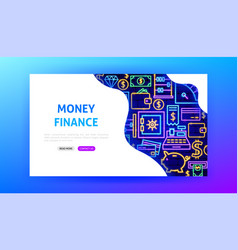 money neon landing page vector image