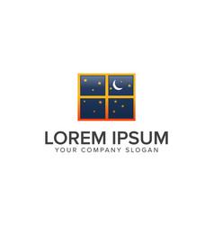 night dream window logo design concept template vector image