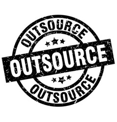 Outsource round grunge black stamp vector