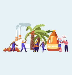 palm oil producing industry concept with workers vector image