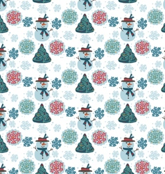 pattern snowman seamless vector image