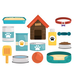 pet shop set icons vector image