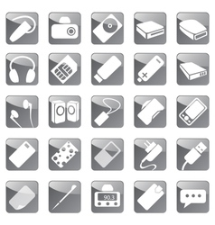 Phone and Computer Accessories Icon Set vector image