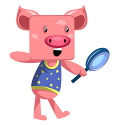 pig with magnifying glass on white background vector image