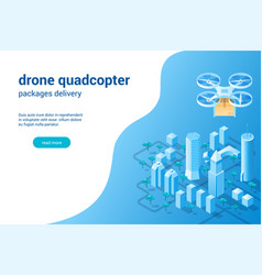quadcopter with package concept02 vector image
